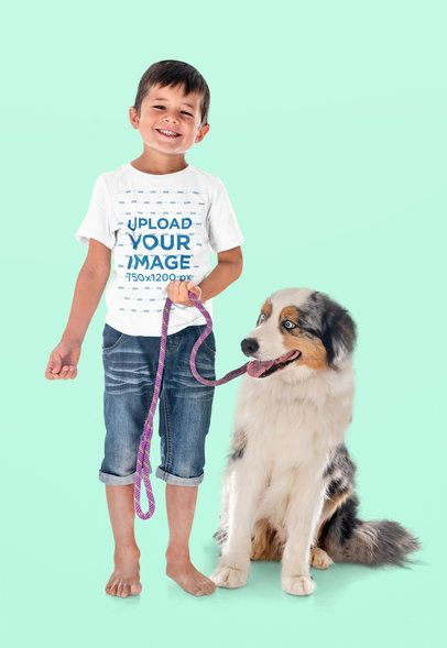 Round Neck T-Shirt Mockup of a Boy with a Dog at a Studio 39068-r-el2