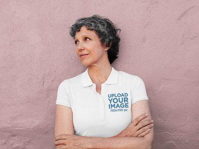 Polo Shirt Mockup of a Senior Woman Posing in Front of a Wall 39266-r-el2
