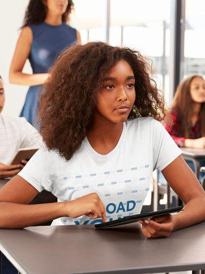 T-Shirt Mockup of a Teen Girl in Class 39221-r-el2