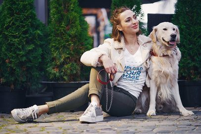 V-Neck T-Shirt Mockup of a Woman Sitting on the Street with Her Dog 39125-r-el2