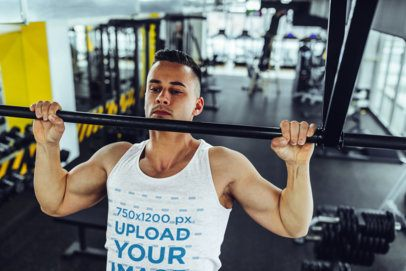 Tank Top Mockup of a Muscular Man Doing Pull Ups at the Gym 37721-r-el2