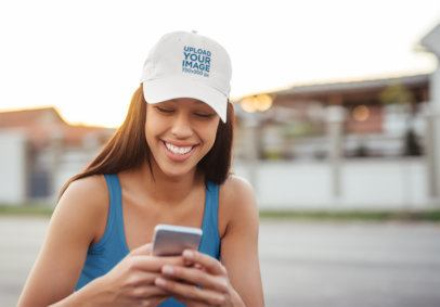 Dad Hat Mockup of a Woman on Her Phone 37808-r-el2