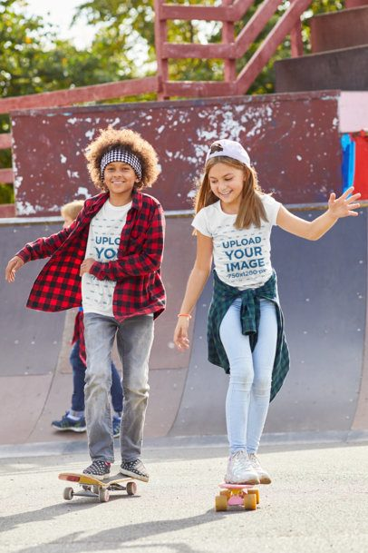 T-Shirt Mockup Featuring Two Happy Kids at a Skatepark 39332-r-el2