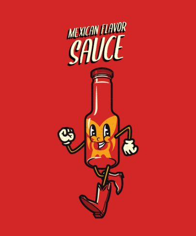 T-Shirt Design Creator with a Cartoonish Illustration of a Spicy Sauce 2245b-el1