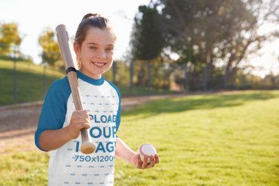 Raglan T-Shirt Mockup of a Happy Girl Playing Baseball 39386-r-el2