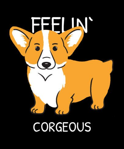 T-Shirt Design Maker Featuring a Cute Corgi 2737b