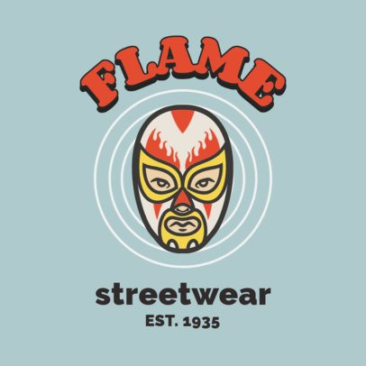 Retro Logo Template for a Streetwear Brand with a Masked Wrestler 2256b-el1