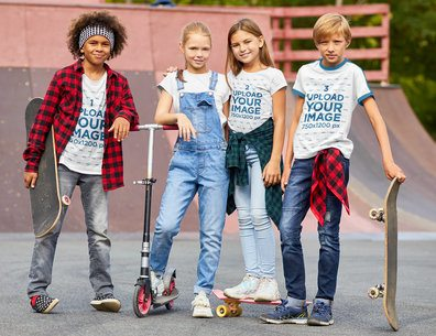 T-Shirt Mockup Featuring Four Kids at a Skatepark 39336-r-el2