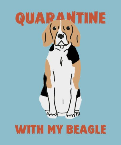 T-Shirt Design Template with a Cute Beagle Illustration 2737h