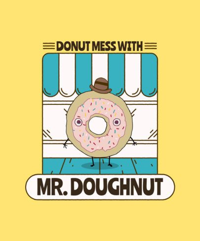 T-Shirt Design Template Featuring a Mister Donut Cartoon 2218a-el1