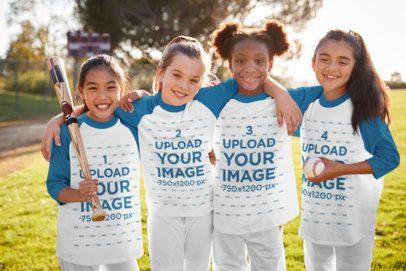 Raglan Tee Mockup of a Group of Girls at Baseball Practice 39385-r-el2