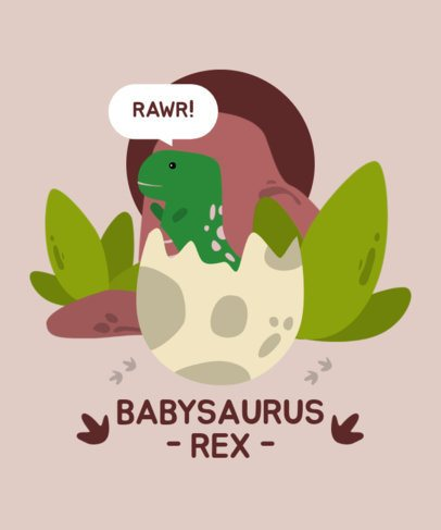 Illustrated T-Shirt Design Maker with a Baby Tyrannosaurus Rex 2294e-el1
