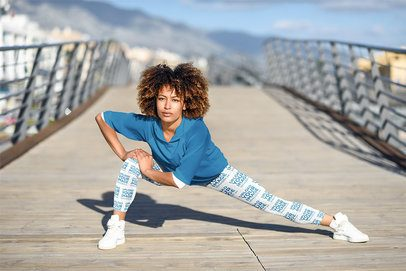 Sports Leggings Mockup of a Woman Stretching to Run 35287-r-el2