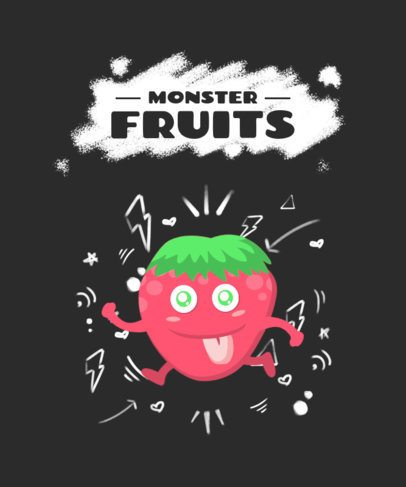 Kids T-Shirt Design Generator Featuring a Monster Fruit Cartoon 2216f-el1