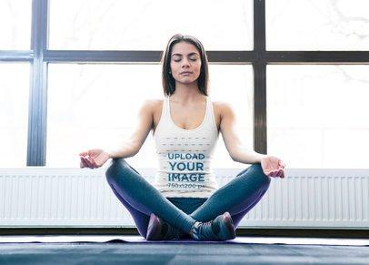 Tank Top Mockup of a Fit Woman Meditating 37720-r-el2