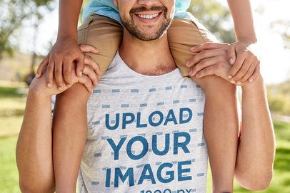 Heathered T-Shirt Mockup of a Man Carrying His Son on His Shoulders 39578-r-el2