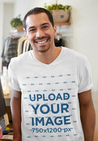 V-Neck T-Shirt Mockup Featuring a Smiling Man 39575-r-el2