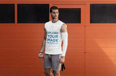 Mockup of a Young Man with a Tank Top and a Jumping Rope 38042-r-el2