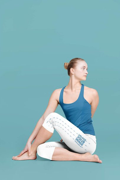 Side View Leggings Mockup of a Female Yogi in a Studio 38573-r-el2