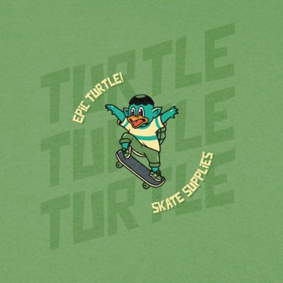 Cool Logo Template for a Skate Store Featuring a Turtle Skating 2264e-el1