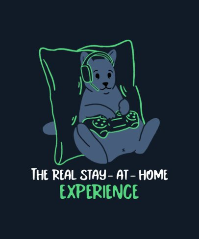 T-Shirt Design Template Featuring a Cat Playing Video Games 2736g