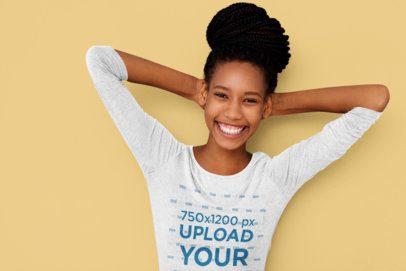 3/4 Sleeve T-Shirt Mockup of a Happy Woman with a Big Hair-Bun 39457-r-el2