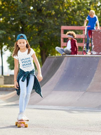 T-Shirt Mockup of a Girl Skateboarding 37889-r-el2