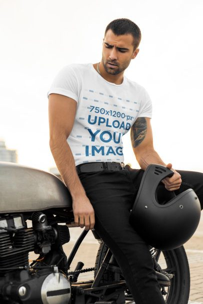T-Shirt Mockup of a Muscular Man Sitting on a Motorcycle 34494-r-el2