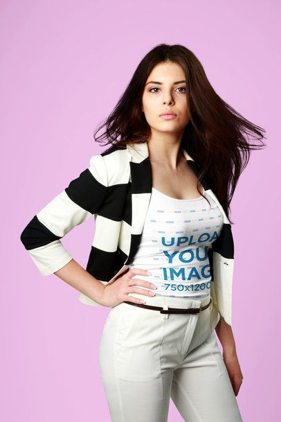 Tank Top Mockup of a Fashionable Woman Posing in a Studio 35502-r-el2