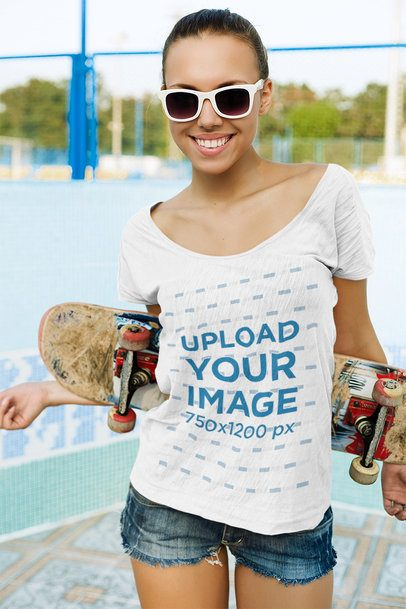 T-Shirt Mockup of a Happy Woman with a Skateboard 35205-r-el2