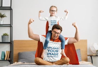 T-Shirt Mockup of a Girl and Her Dad Dressed as Superheroes 39518-r-el2