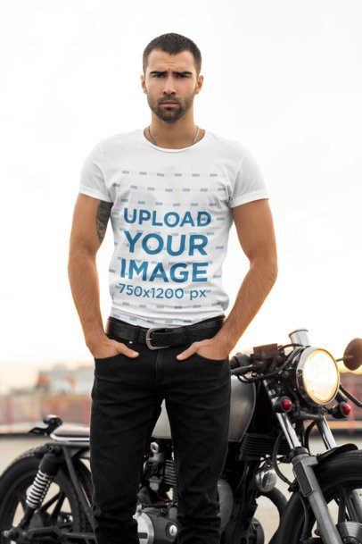 T-Shirt Mockup of a Tough-Looking Biker 34498-r-el2