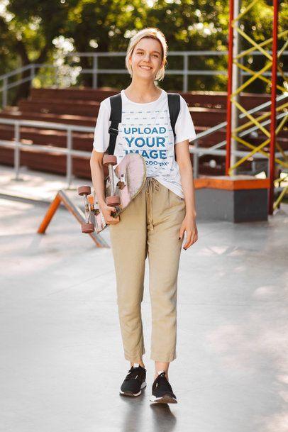 T-Shirt Mockup of a Teen Girl at the Skatepark 37930-r-el2