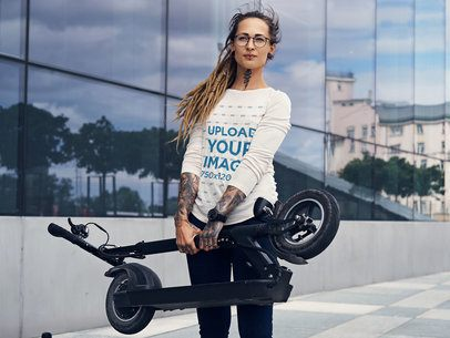 Long Sleeve Tee Mockup of a Woman Carrying Her Folding Scooter 38125-r-el2