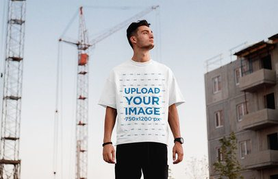 T-Shirt Mockup of a Man with a Casual Look Standing on the Street 37583-r-el2