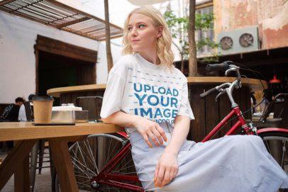 Unisex T-Shirt Mockup of a Woman at a Cafe 39204-r-el2