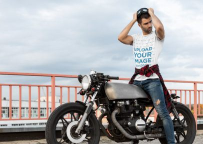 Mockup of a Stylish Biker Wearing a T-Shirt 34502-r-el2