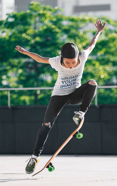 T-Shirt Mockup of a Female Skater Doing a Trick 37477-r-el2