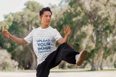 T-Shirt Mockup of a Man Practicing Karate 36118-r-el2