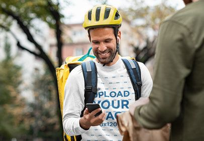 Round Neck Sweatshirt Featuring a Smiling Delivery Guy with His Phone 38302-r-el2
