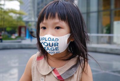 Face Mask Mockup Featuring a Little Girl on the Street 39813-r-el2