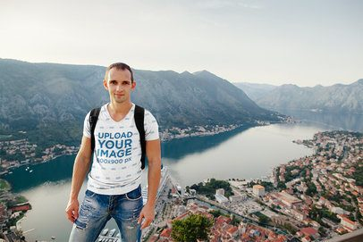 Sublimated V-Neck T-Shirt Mockup of a Traveler with a City's Landscape 37436-r-el2