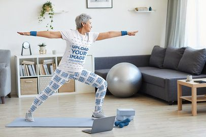 Leggings Mockup of a Senior Woman Wearing a T-Shirt and Exercising at Home 38665-r-el2
