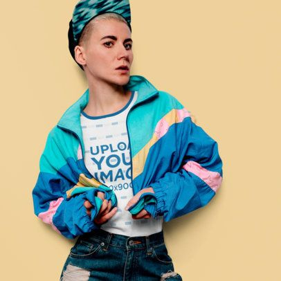 Mockup of a Fashionable Woman Wearing a Ringer T-Shirt 37343-r-el2