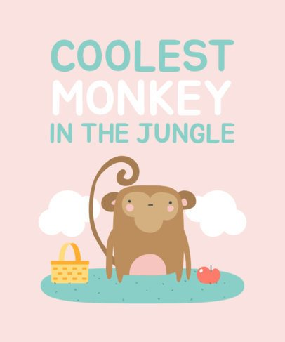 T-Shirt Design Maker with a Cute Illustration of a Monkey 2338c-el1