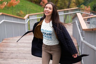 T-Shirt Mockup of a Happy Woman Posing on an Autumn Day 37802-r-el2