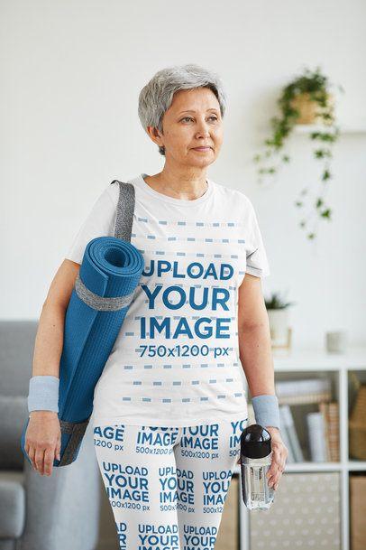 T-Shirt and Leggings Mockup of a Senior Woman Ready for Yoga Class 38666-r-el2