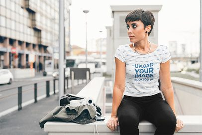 Sublimated Tee Mockup of a Woman Sitting on the Street 37370-r-el2