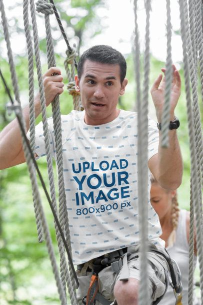 Sublimated Tee Mockup of a Man Crossing a Rope Bridge 36100-r-el2