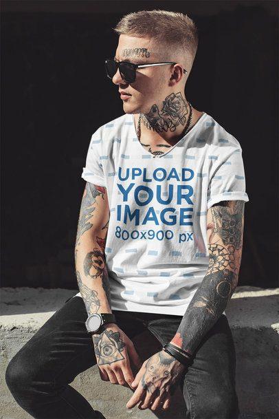 T-Shirt Mockup of a Man with Several Tattoos 35243-r-el2